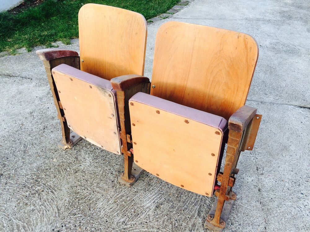 2 si ges fauteuil strapontins chaise de cin ma th tre banc indus vintage r tro ebay. Black Bedroom Furniture Sets. Home Design Ideas