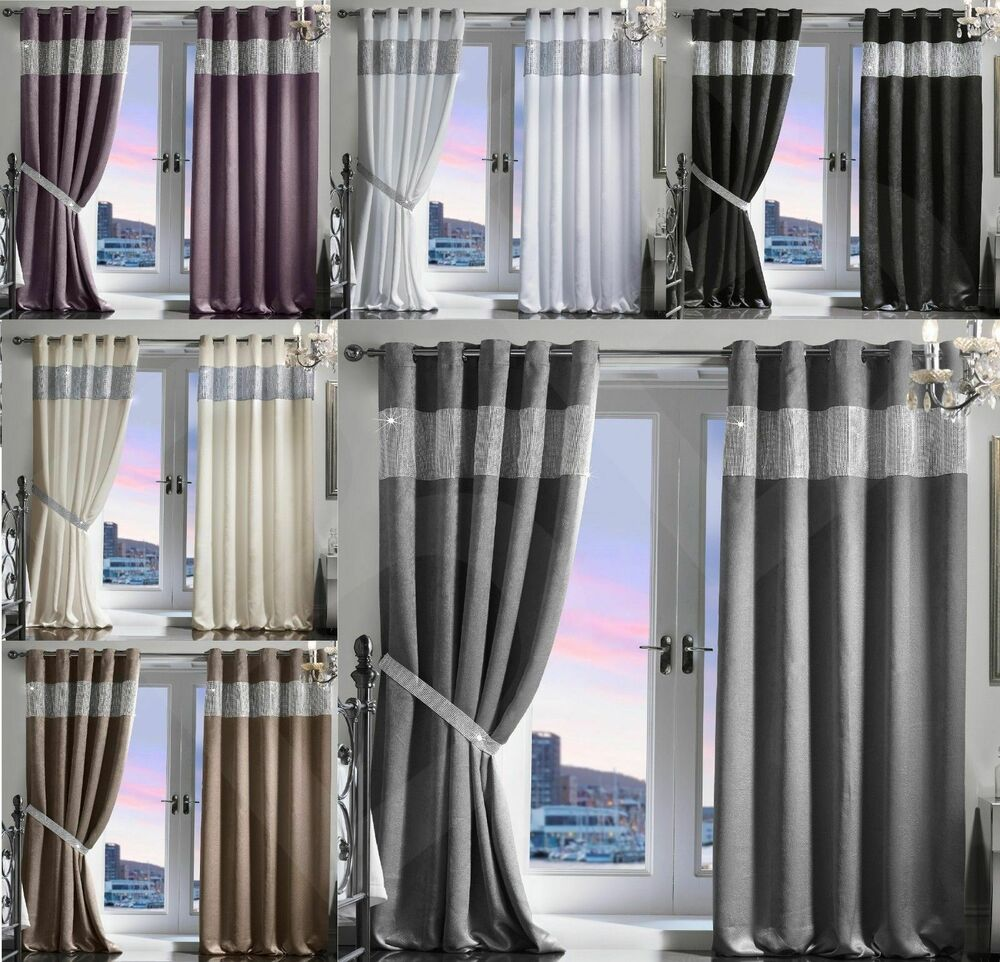 diamante thermal blackout pair curtains ready made eyelet. Black Bedroom Furniture Sets. Home Design Ideas