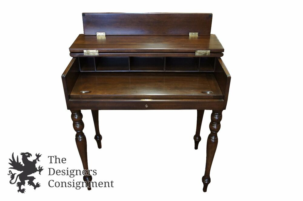 Antique Early American Style Gany Flip Top Secretary Writing Desk