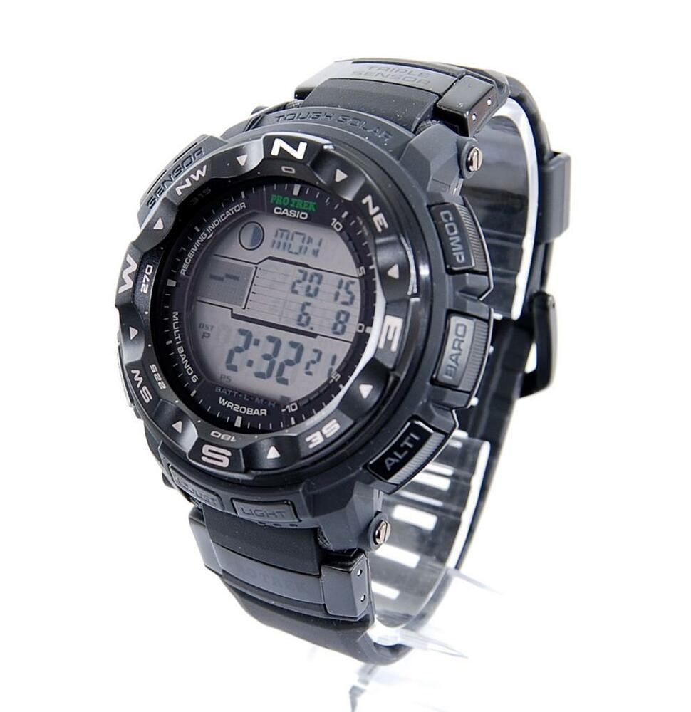 Casio PROTREK Atomic Compass Thermometer Altimeter Tide Solar Watch PRW2500-1AWC | eBay