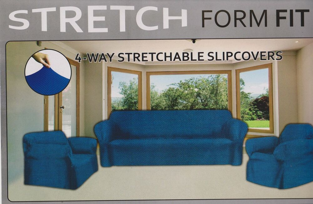 Stretch Form Fit 3pcs Slipcovers Set Couch Sofa Loveseat