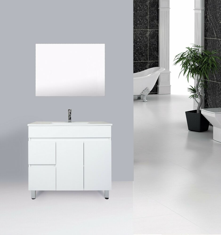 Vanity 900mm high gloss white vanity unit with ceramic for Bathroom cabinet 900mm high
