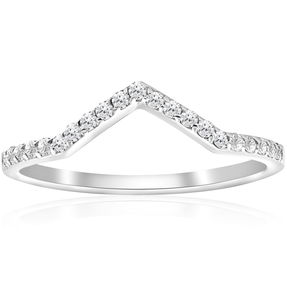 1/5ct Diamond Curved V Shape Wedding Ring Womens Stackable ...