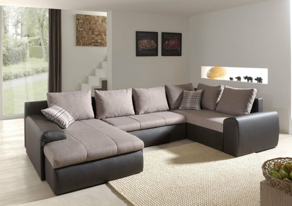 ecksofa normandy mit bettfunktion schlaffunktion polsterecke eckcouch 01659 ebay. Black Bedroom Furniture Sets. Home Design Ideas