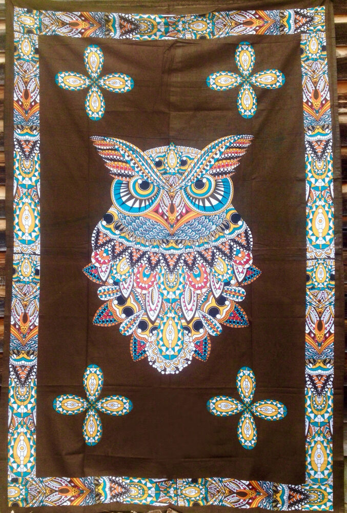 Sacred Owl Bohemian Boho Hippie Indian Tapestry Wall Art
