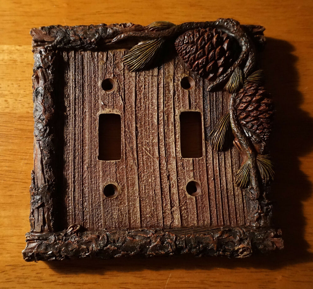 Pine Cone Bark Cabin Double Switch Plate Cover Switchplate