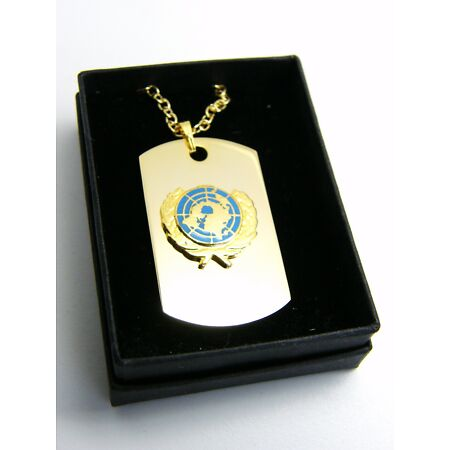 img-THE UNITED NATIONS UN BLUE BADGE DOG TAG PENDANT MILITARY GIFT IN BOX