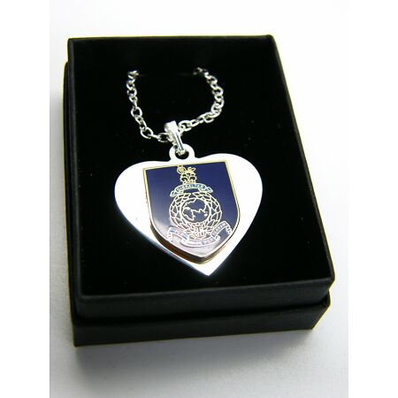 img-THE ROYAL MARINES NAVY BADGE HEART PENDANT & CHAIN MILITARY GIFT IN BOX