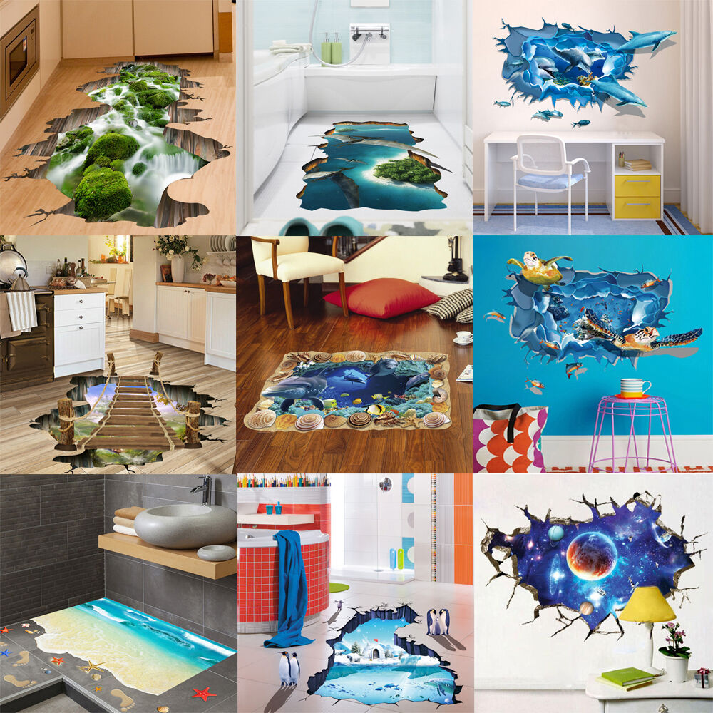 3d Style Floor Wall Sticker Removable Mural Decals Vinyl