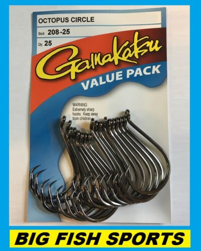 GAMAKATSU #208 OCTOPUS CIRCLE HOOK 25 HOOKS Value Pack NEW! PICK YOUR SIZE!