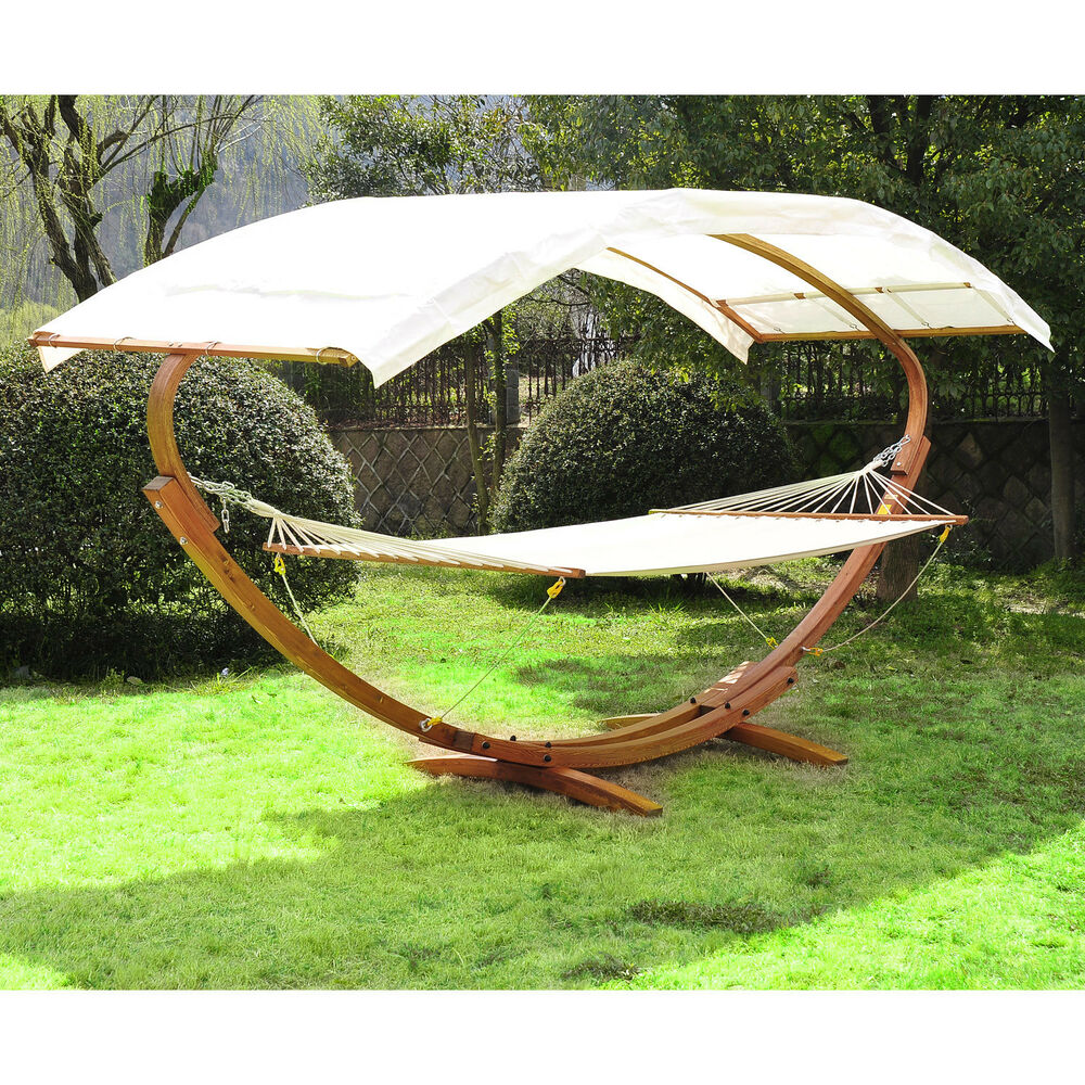Garden Hammock Stand: Patio Outdoor Curved Arc Double Hammock Stand Wooden Bed