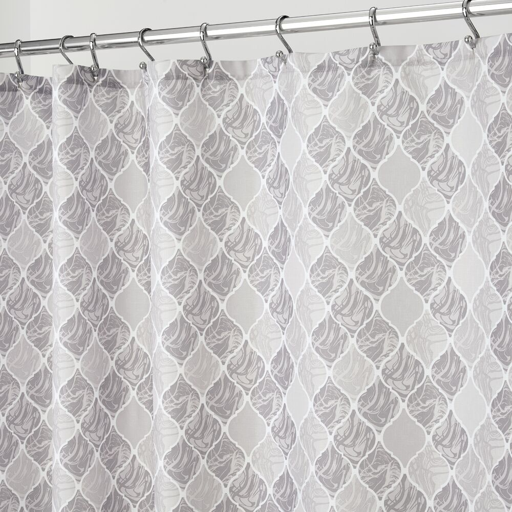 Details About Interdesign 54820 Gray Multi Moroccan Fabric Mold Resistant Soft Shower Curtain