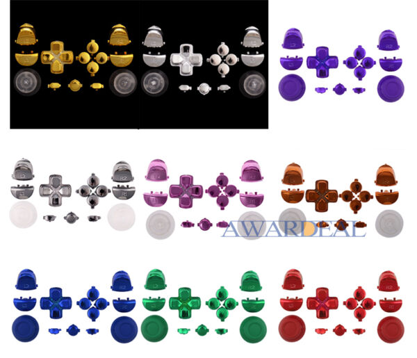 Colors Thumbstick Dpad Home R1/L1/R2/L2 Buttons Replacement for PS4 Controller