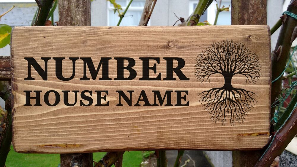 Personalised wooden house name plaque door signs solid for Door name signs