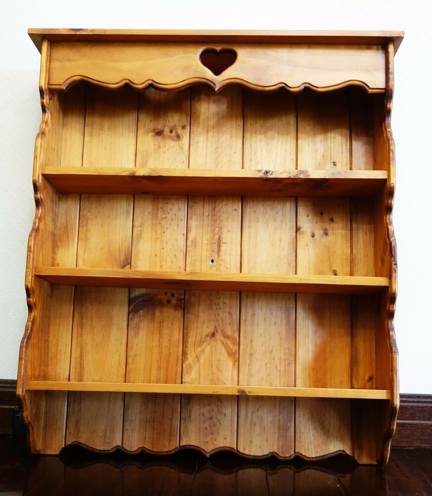 wall shelf decor wooden vintage shelves heart antique cottage country style ebay. Black Bedroom Furniture Sets. Home Design Ideas