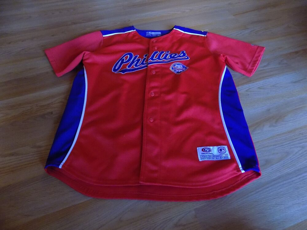 Youth Size XL 14-16 Philadelphia Phillies Red Blue Embroidered Baseball  Jersey  c24f19ebe