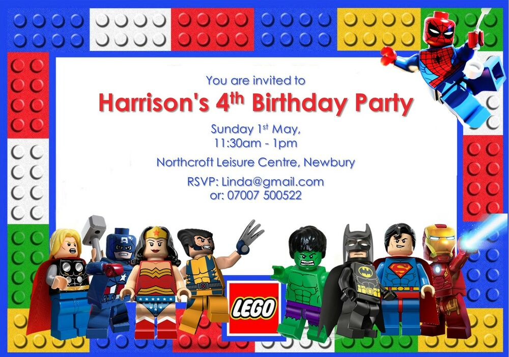 lego invitations | ebay, Party invitations