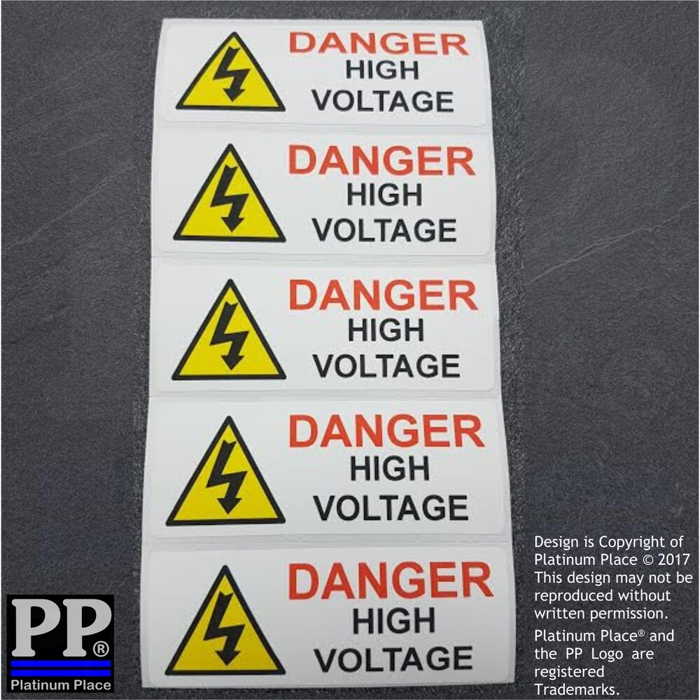 5 x Danger High Voltage Stickers-Electric Electrician Safety Signs ...