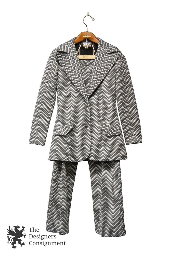 063d9fd1eb63 Details about Vtg Sears Womens Pant Suit Gray White Zig Zag Pattern Size  9/10 Retro Mid Modern