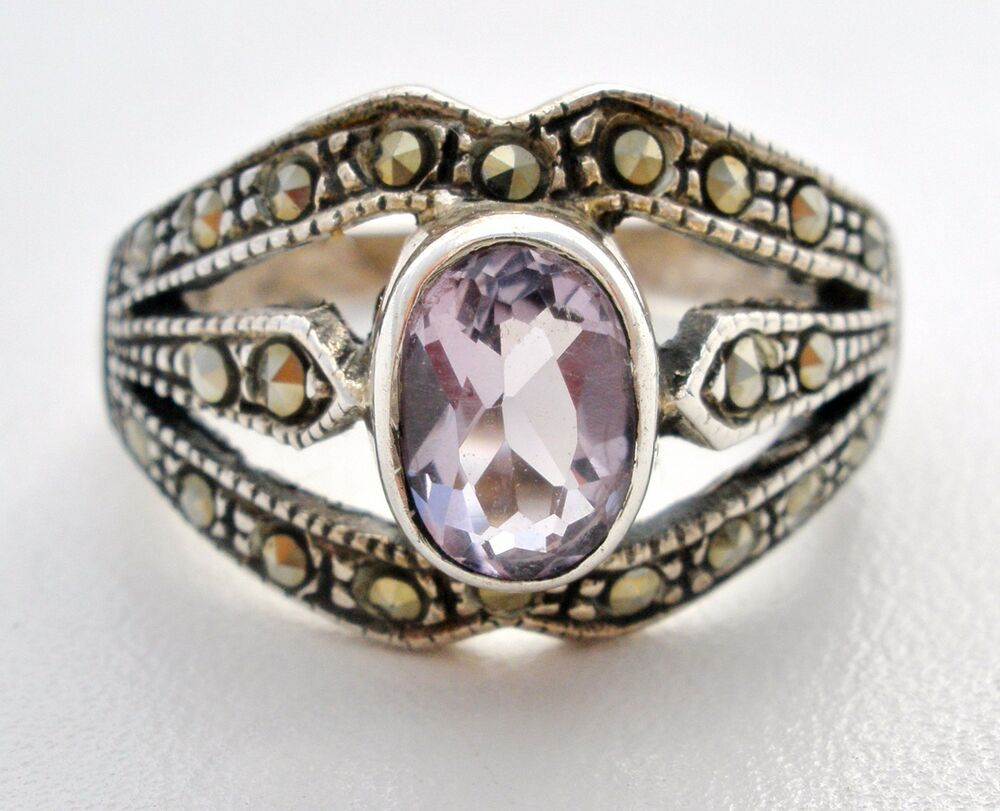 Amethyst And Marcasite Sterling Silver Ring 1 Ct Purple