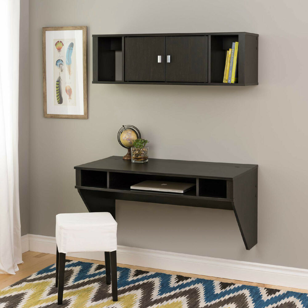 Details About Wall Mounted Floating Computer Desk And Hutch W Storage NEW
