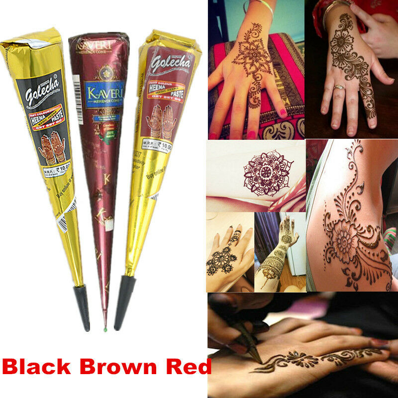 Inflicting Ink Tattoo Henna Themed Tattoos: Temporary Tattoo Kit Natural Herbal Henna Cones Body Art