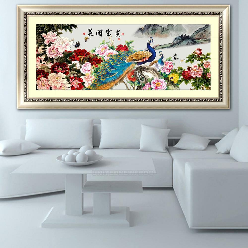 Large 5d Diy Diamond Embroidery Painting Cross Stitch Flower Peacock Home Decor Ebay
