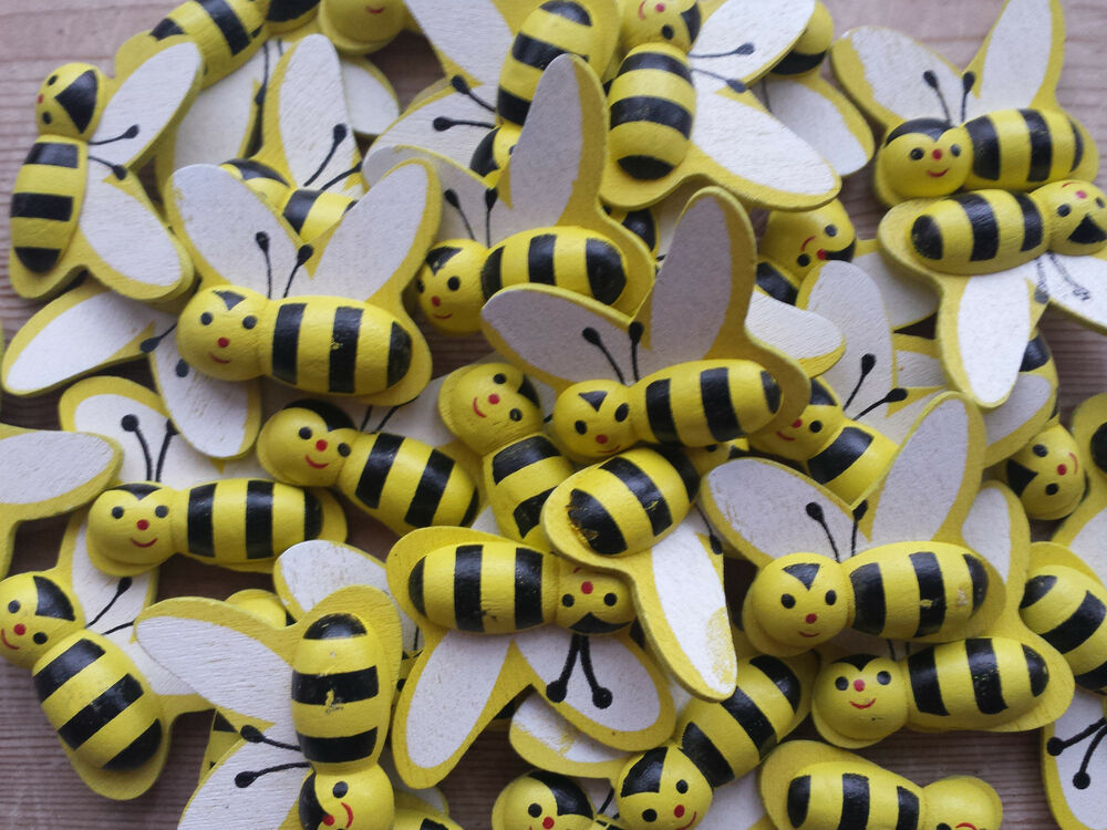mini wooden bumble bees craft card wood topper