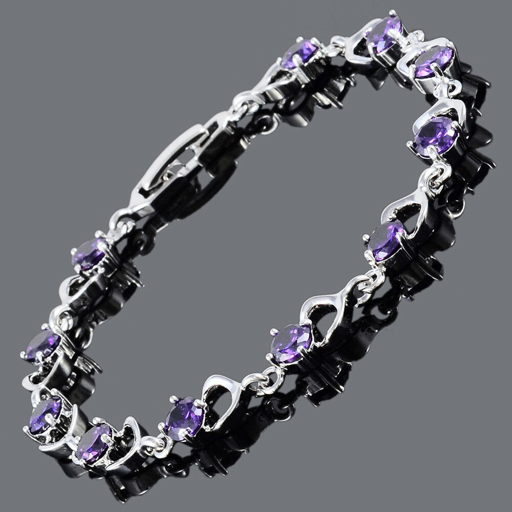 round cut purple amethyst 18k white gold plated cubic. Black Bedroom Furniture Sets. Home Design Ideas