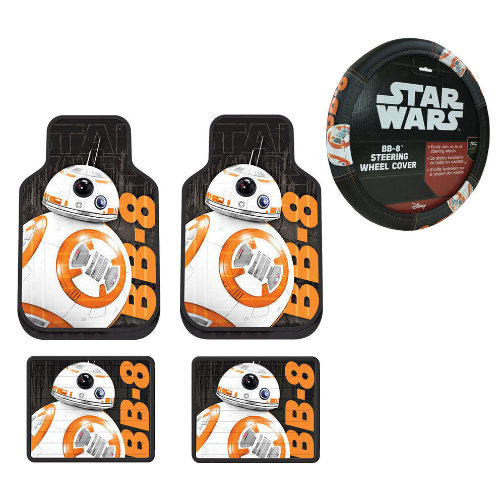 New Star Wars Bb 8 Robot Car Truck Front Rear Floor Mats Amp Steering Wheel Cover 689603782942 Ebay