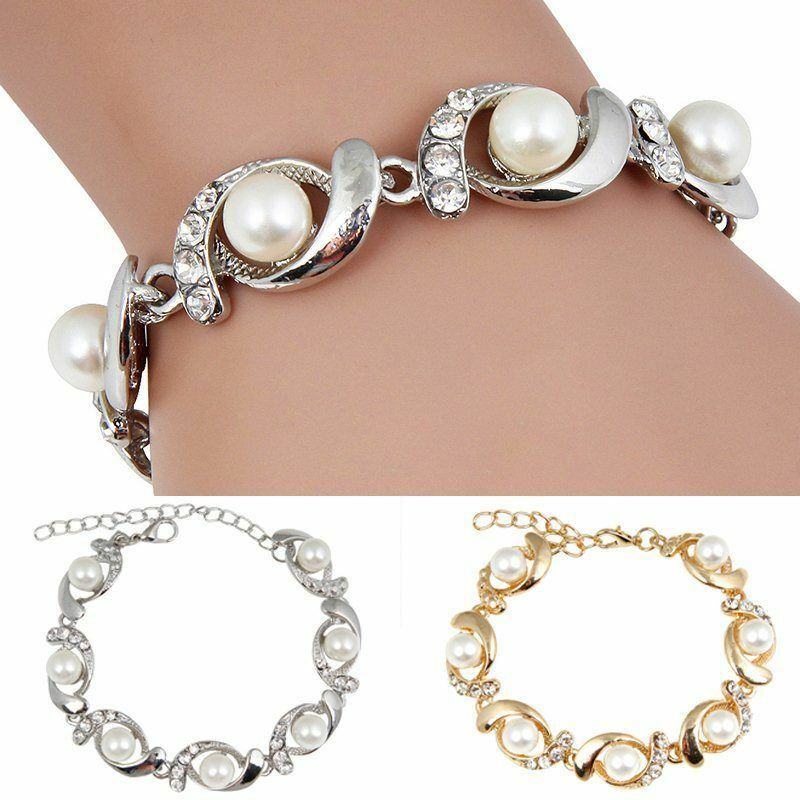 Gold Charm Bracelets: Fashion Women Gold Silver Plated Jewelry Pearl Crystal