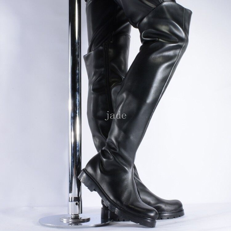 Mens Semigloss Pole Dance Over Knee Boots Cool Work Shoes