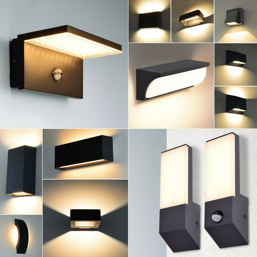 led aussenleuchte wandleuchte au enlampe schwarz gartenleuchte aussenlampe ebay. Black Bedroom Furniture Sets. Home Design Ideas