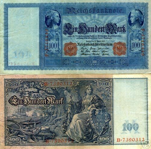 My German Finances: GERMANY 100 MARK BANKNOTE 1910 IMPERIAL EMPIRE WWI