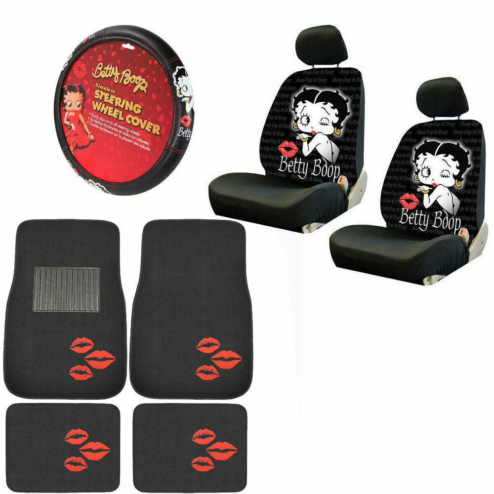 new betty boop kiss car front back floor mats seat covers steering wheel cover ebay. Black Bedroom Furniture Sets. Home Design Ideas