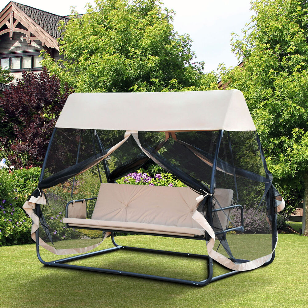 Backyard wooden swing chairs - Patio Swing Hammock Outdoor Furniture Convertible Bench Chair Bed W Canopy Mesh