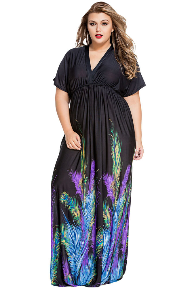 Plus Size Clothing 5X Feather Print Maxi Dress SEXY Empire ...