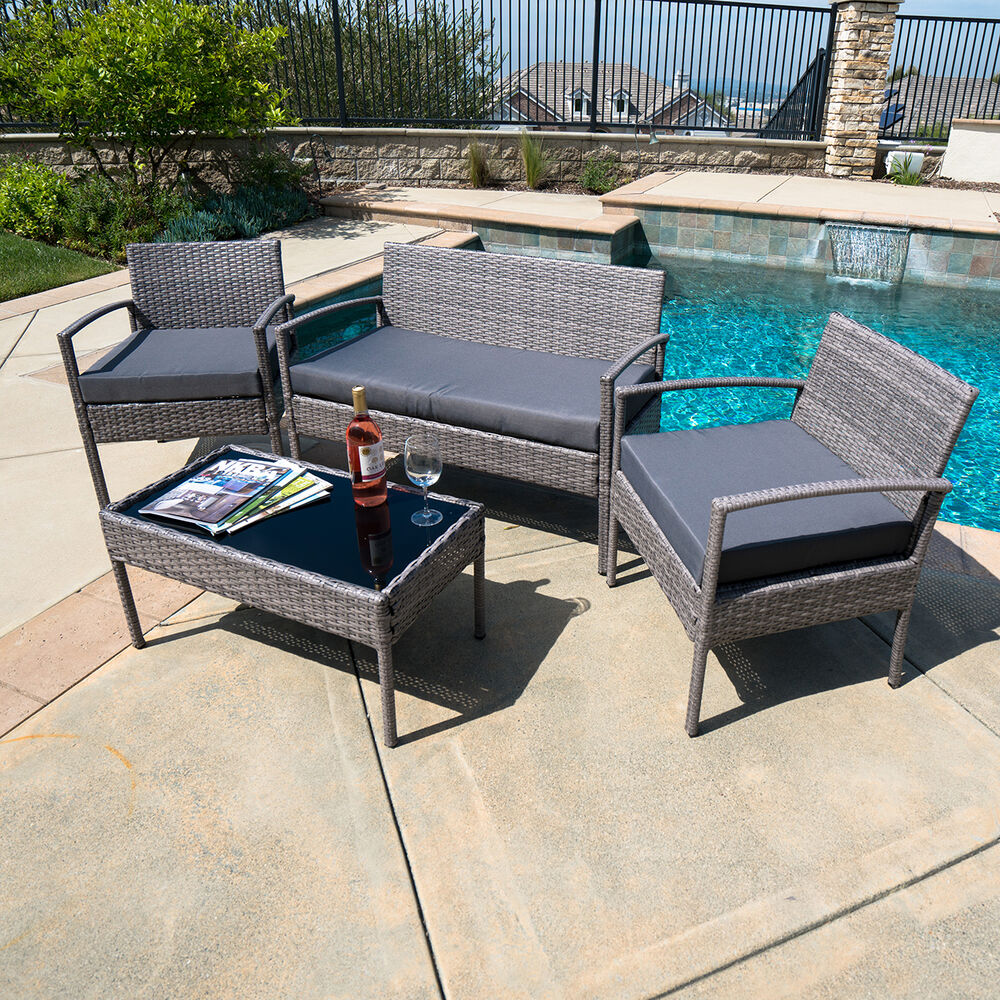 Outdoor Garden Patio 4pc Cushioned Seat Mix Gray Pe Wicker