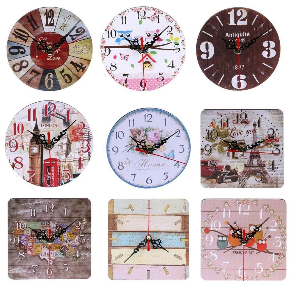 Vintage Rustic Wooden Wall Clock Kitchen Antique Shabby