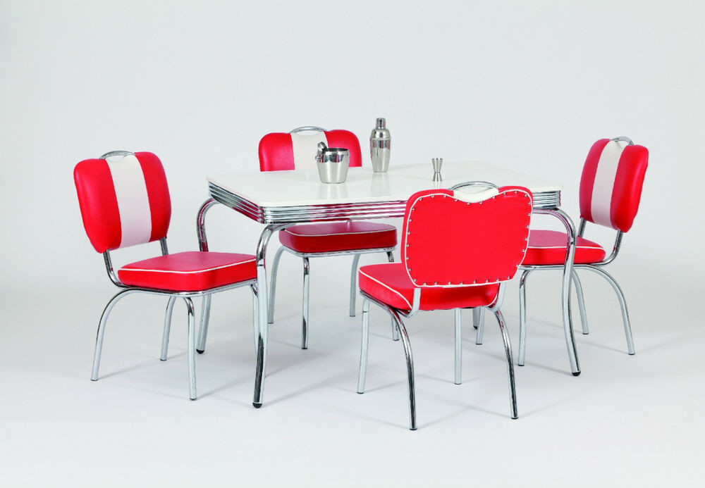 diner furniture 50s style retro rectangular table and 4 red chairs