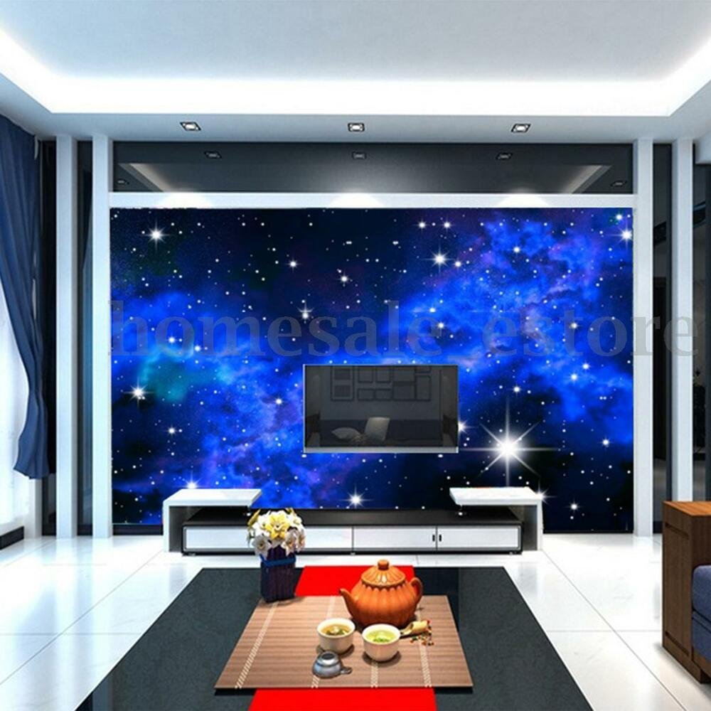 Modern 3d night clouds star wallpaper bedroom living mural for Modern 3d wallpaper for bedroom