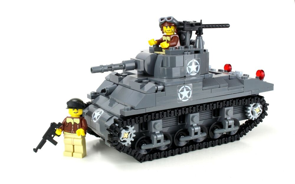 Deluxe m4 sherman us army world war 2 tank custom set made w real lego brick ebay - Army tank pictures ...