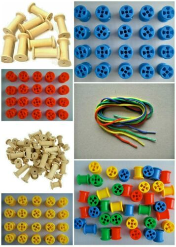 Wooden plastic cotton reels spools threading laces bright colours