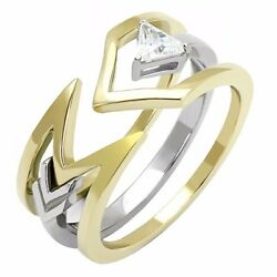 4x4mm Triangle Cut Solitaire CZ Two-Tone Gold IP Stainless Steel 2 Rings Set