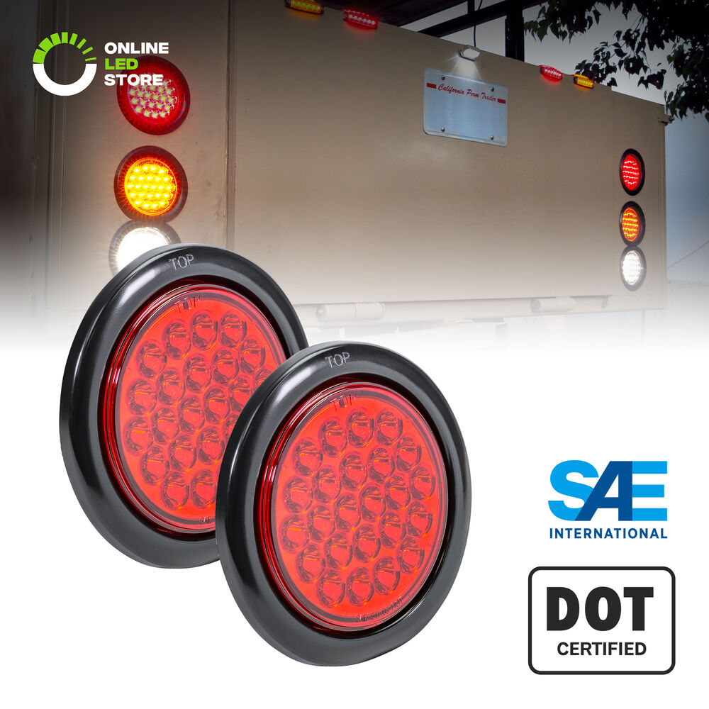 Part Shop Glow Tail Lights: 2pc OLS 4 Inch Round Red 24 LED Turn Stop Brake Trailer