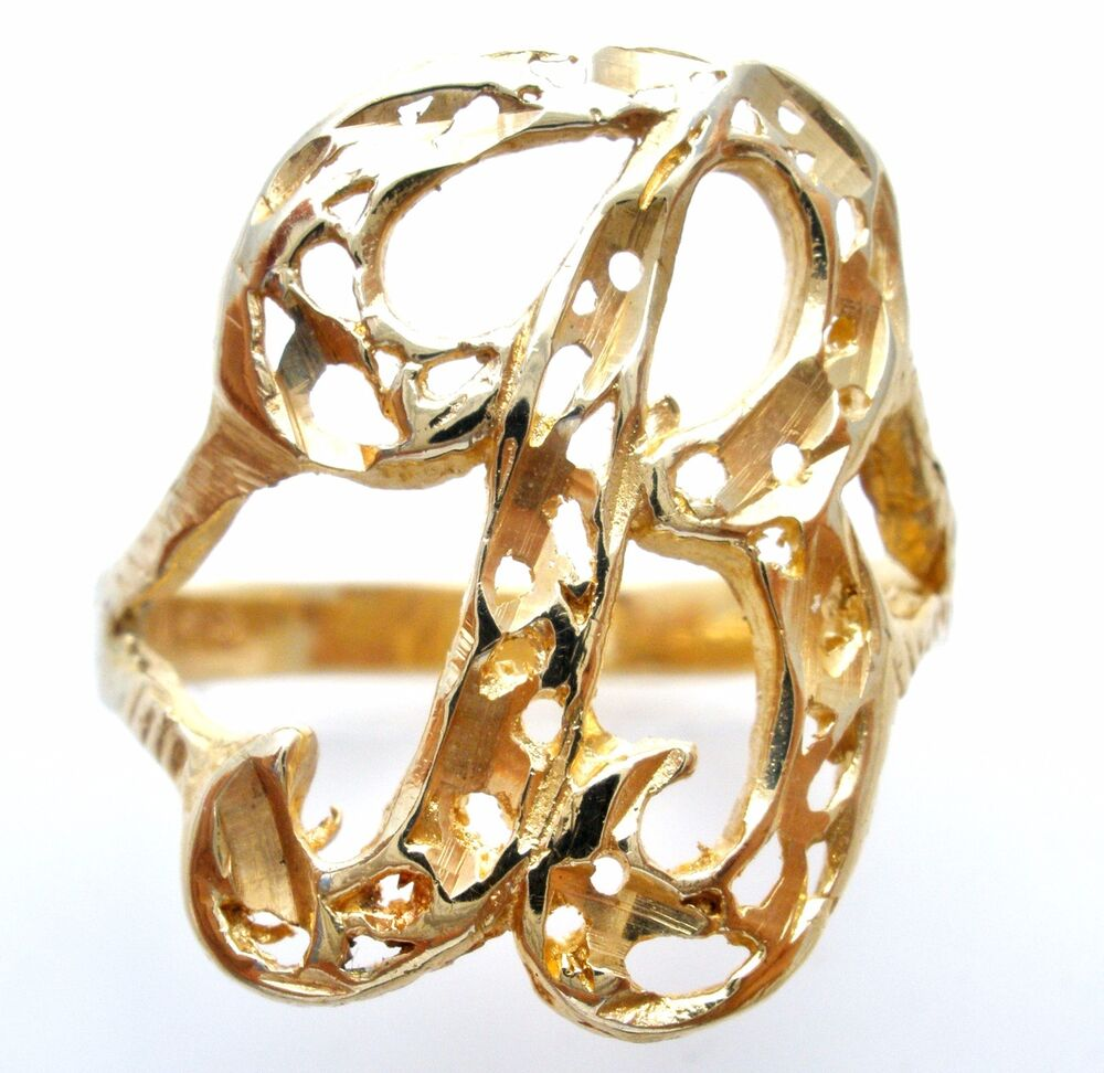 B Letter In Gold Ring 14K Yellow Gold B Init...