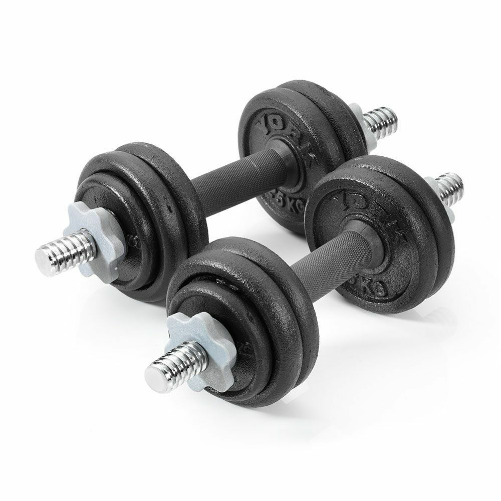 York Chrome Dumbbell Set 15kg: York 15kg Cast Iron Dumbbell Set