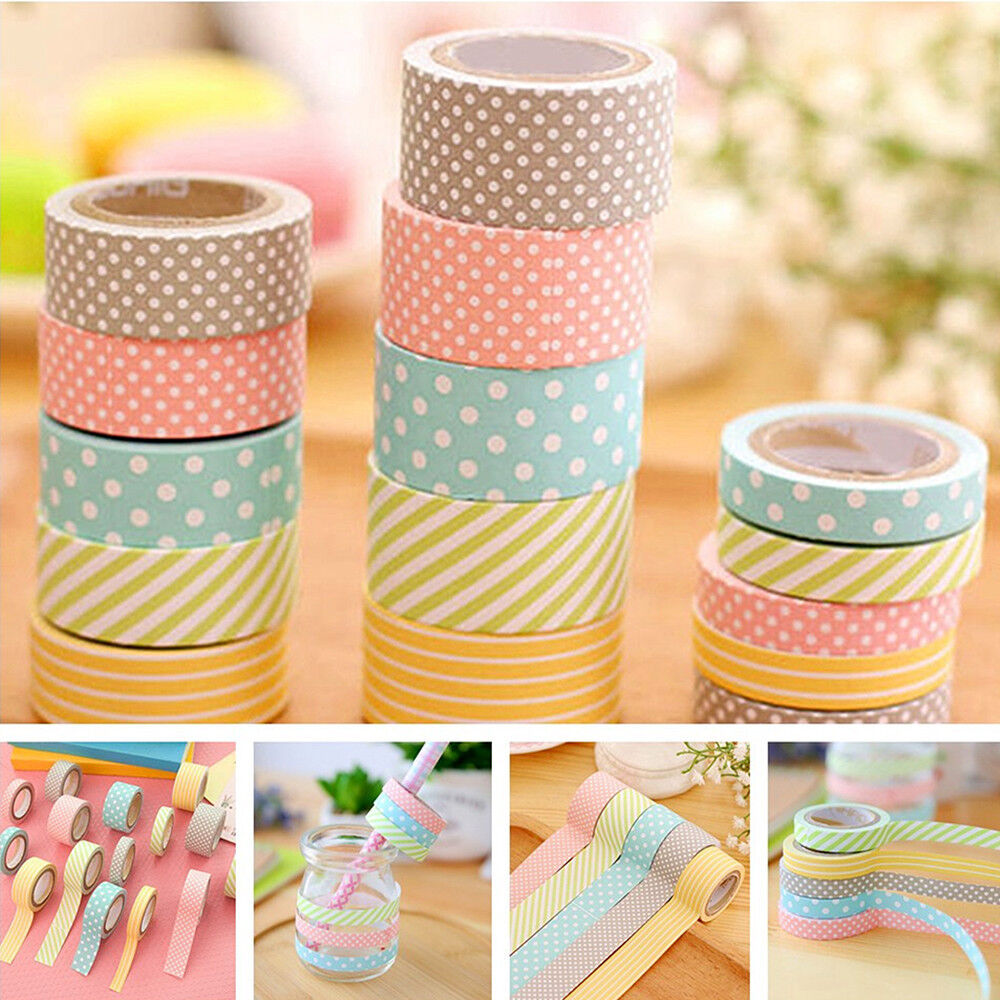 5 rolls colorful washi tape decorative sticky paper. Black Bedroom Furniture Sets. Home Design Ideas