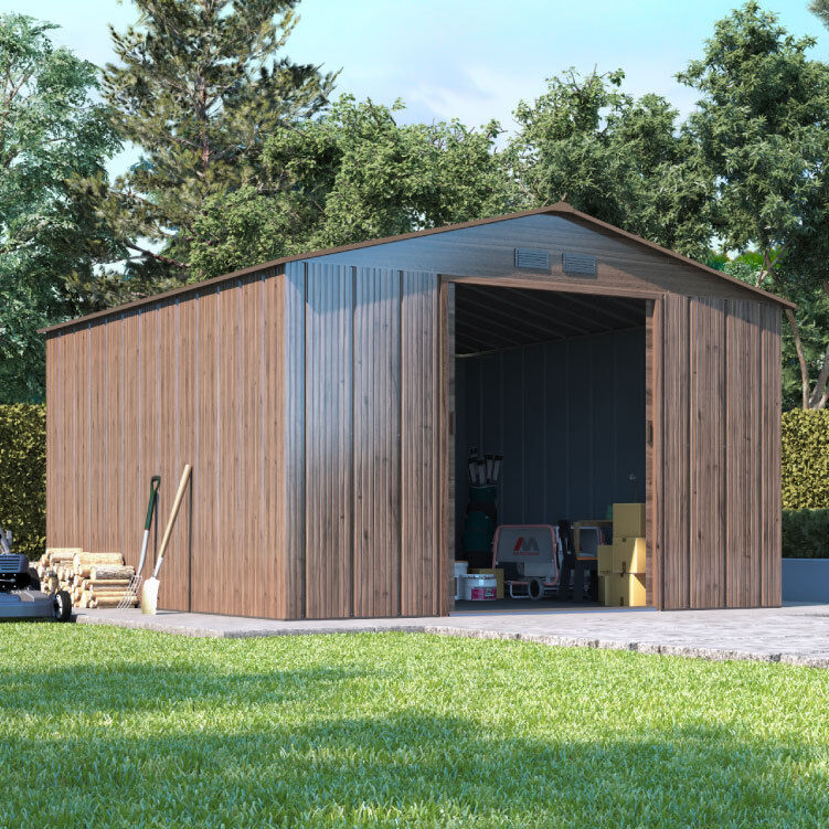 Partner woodgrain metal garden shed apex roof large for Garden shed tab