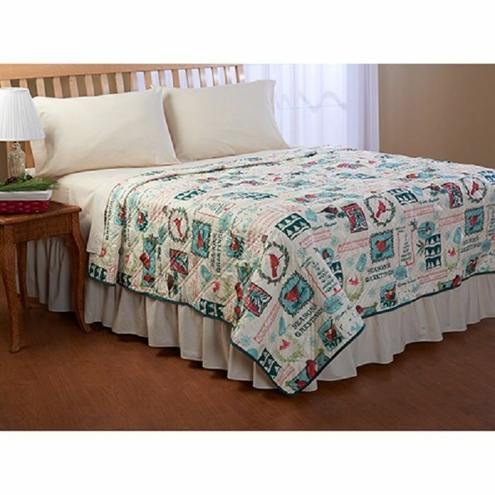 seasons greetings christmas birds quilt bedroom bedding full queen king size new ebay. Black Bedroom Furniture Sets. Home Design Ideas